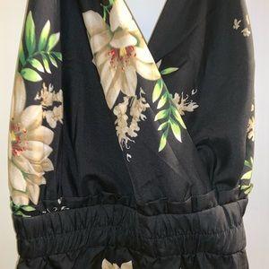 Black floral fashion nova jumpsuit